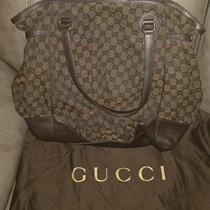 "Gucci Dark Brown Signature ""GG"" Canvas Full Moon"